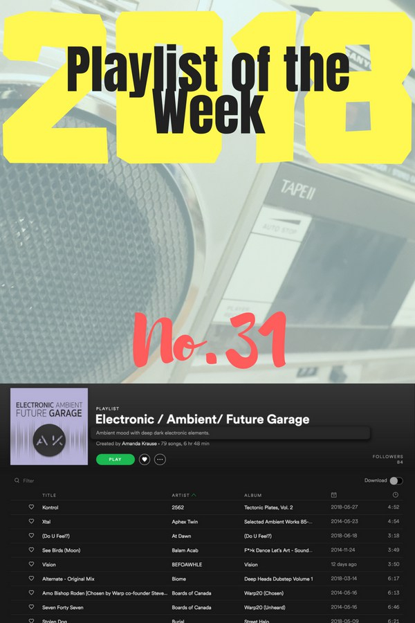 Playlist of the Week - No 31: Electronic / Ambient / Future Garage, by Amanda Krause.